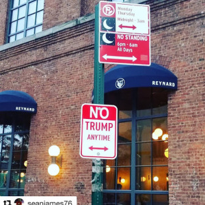 #donaldtrump #trump Road sign art in NYC., USA, by American artist Plastic Jesus